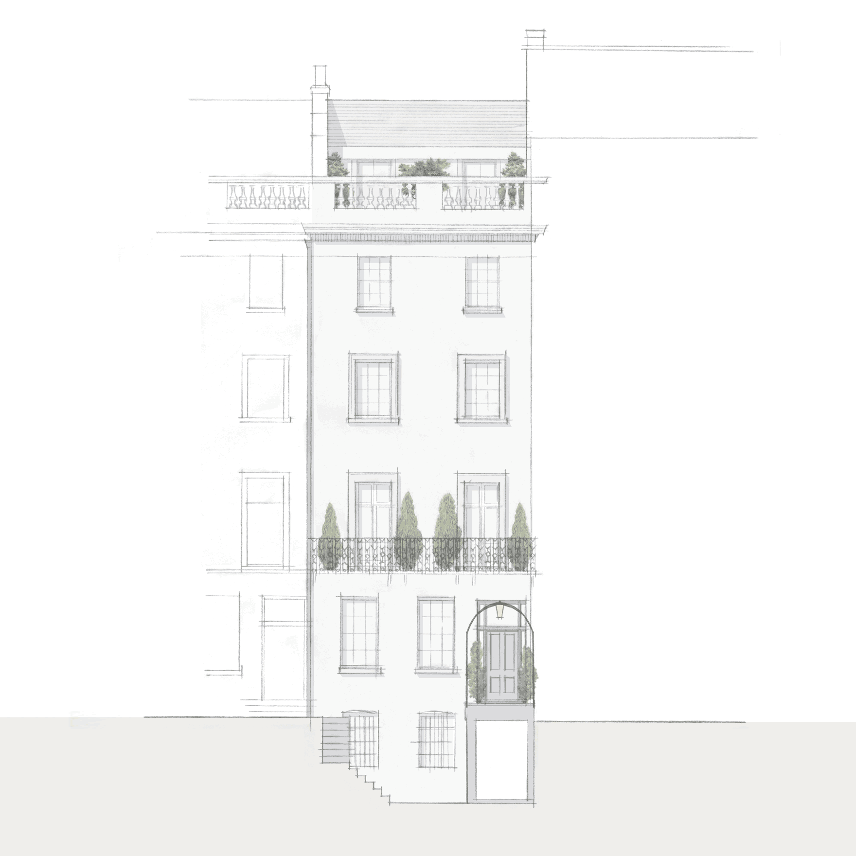 Knightsbridge sketch showing the front elevation