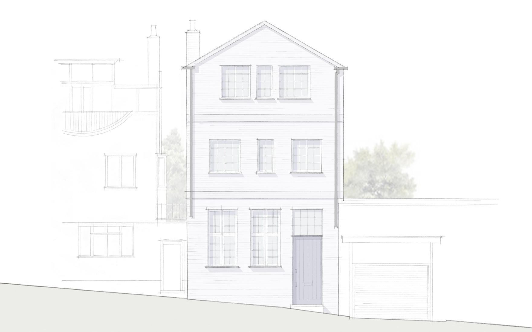 Notting Hill sketch showing the front elevation